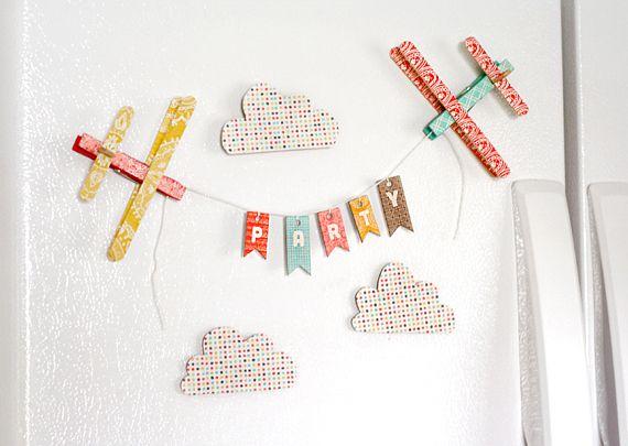 Refrigerator Airplane Banner | Lisa StormsDiy Minis, Crafts Ideas, Lisa Storms, Minis Fridge, Airplanes Banners, Refrigerators Airplanes, Fridge Banners, Fun Magnets, Refrig Airplanes
