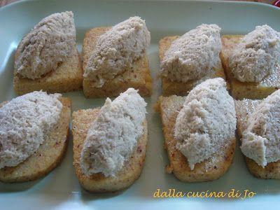 ''dalla cucina di Jo'': Crostini di polenta con quenelle di merluzzo