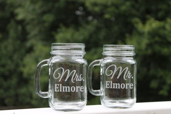 Etched Mason Jar, Set of 2, Etched Glass Mugs 16oz , Mr. and Mrs., Etched Wedding Glass , Etched Mugs, Mason jar with handle, bride, groom on Etsy, $24.00