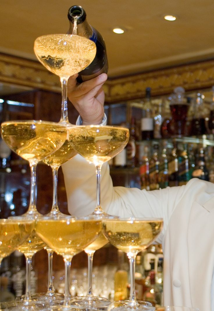 A champagne tower in The Rivoli Bar.   http://www.theritzlondon.com/Rivoli.html