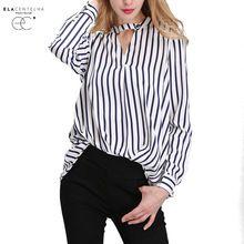 ElaCentelha Mujeres Otoño Verano 2016 Tops Blusa de La Gasa Camisas de Las Mujeres de Nueva Rayas Más Tamaño Sueltan Elegante Señoras de la Oficina Blusas