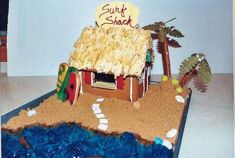 Former Grand-Prize Winner for Houses Made from a Kit Sisters Alecia, 14, and Kayla Rumpp, 9, of Grosse Pointe Woods, MI, created this groovy waterfront property with a gelatin sea, brown sugar sand, bay leaf palm trees, and a shoestring-potato thatched roof.