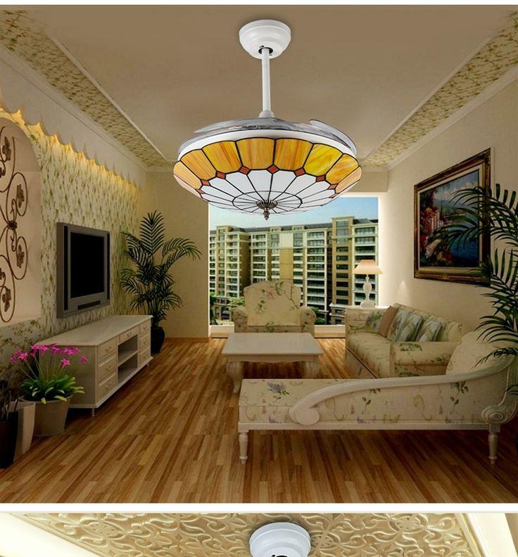 350.79$  Watch now - http://alicy0.worldwells.pw/go.php?t=32596853185 - Tiffany fashion modern ceiling chandelier fan lamp 42inch chandelier fan light minimalist bedroom Mediterranean chandelier fan