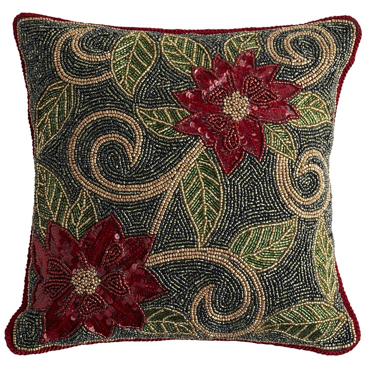 Beaded Poinsettia Pillow Pillows Pinterest