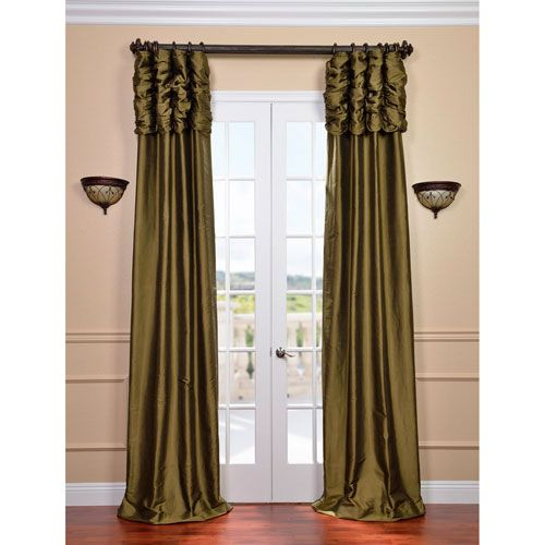 Exclusive Fabrics & Furnishings Ruched Sage Green 120 X 50 Inch Thai Silk Curtain Single Panel Ss Sg05 120 Ru