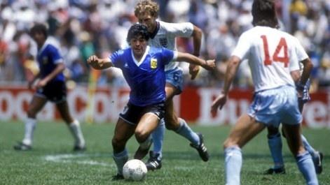 Maradona en el partido del Mundial 86 entre Argentina e Inglaterra