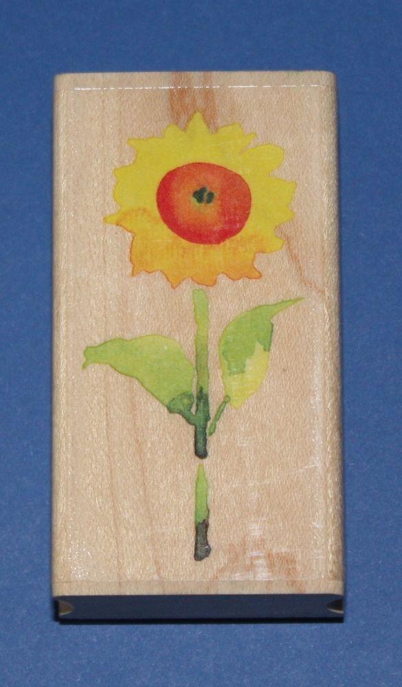 NEW Inkadinkado  Mini Sunflower  Wooden Backed Rubber Stamp 97811LL