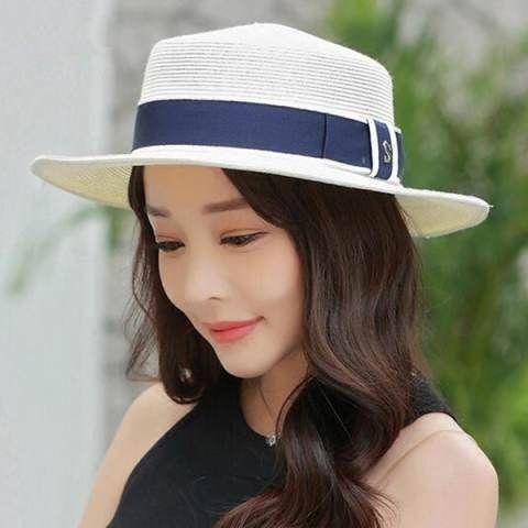 Summer straw boater hat for women fashion package sun hats   HatsForWomenBoater e6e6ff810eb6
