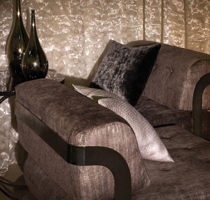 Armchairs: LUMIERES DE VILLE, M100001, Laminated velvet // Cushions (from top to bottom): AU MONT DES MUSES, M104 8 14, Iridescent plain velvet / ESQUISSE AU MUR, M111 4 03, Textured silk
