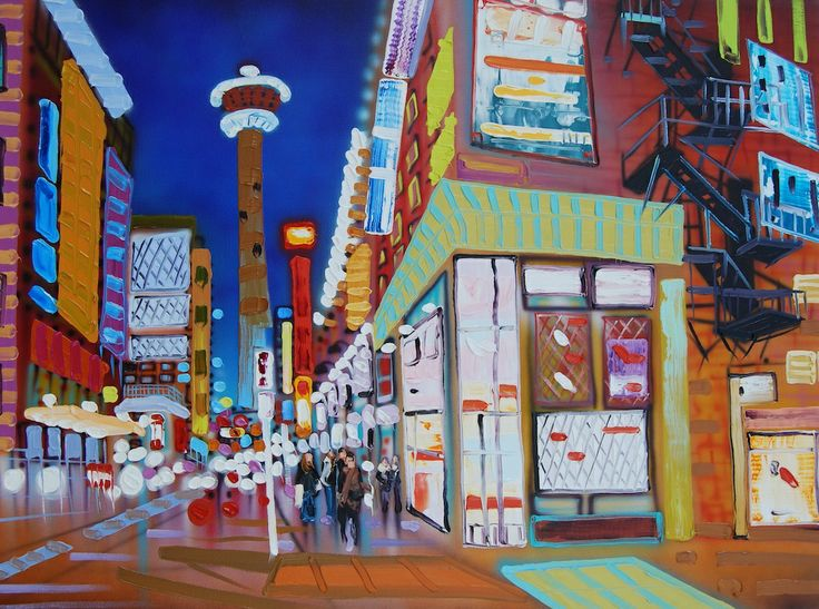 """The glow from the neon lights, gust of wind from fast moving cars whizzing by engage your senses and make you feel alive. """"City Beats"""" www.sheilakernan.com"""