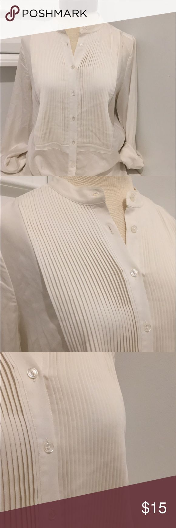 J Crew Small Top Drapey Tuxedo Blouse Small flown J Crew Small Top Drapey Tuxedo Blouse Small Beige Ivory Pleated Flowy Blouse J. Crew Tops Button Down Shirts