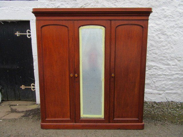 Victorian three door mahogany mirror door wardrobe