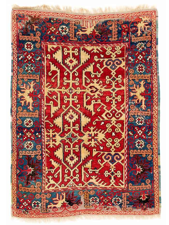 Lotto Carpet, Ushak region 137 x 99 cm. Late 17th century.