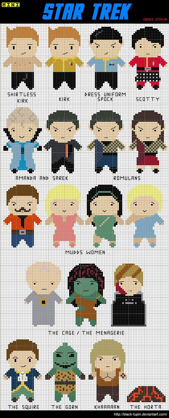 ST TOS cross stitches black-lupin on deviantart.com. Shirtless Kirk is the best.