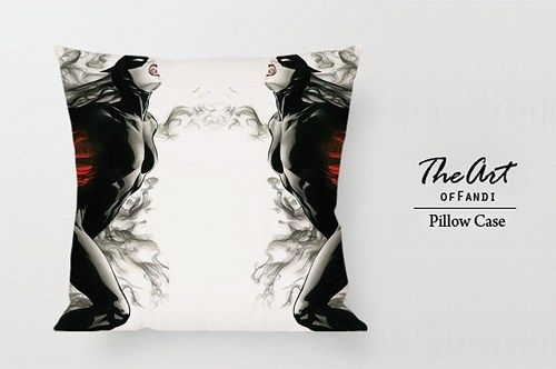 "Black White Catwoman - Custom Square 18""x18"" One Side Pillow Case."