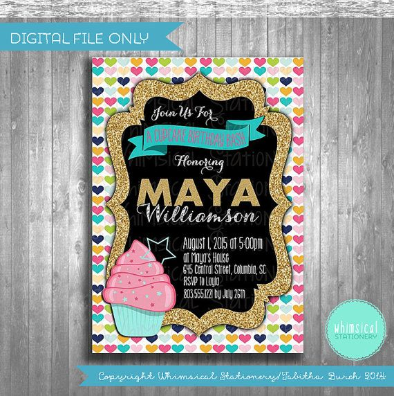 ♥ Birthday Invitations - Cupcake Bash ♥ The perfect invite for your favorite girls birthday! This printable card is sized 5x7 and fits