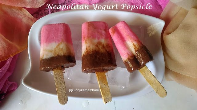 Neapolitan Yogurt Popsicle | Easy Popsicle Recipes ~ Kurinji Kathambam