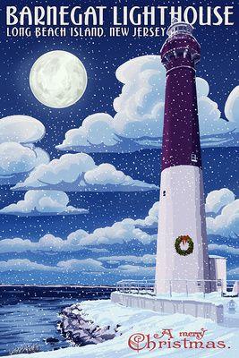 Long Beach Island, New Jersey - Barnegat Lighthouse Christmas Scene - Lantern Press Artwork