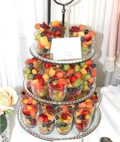 Great way to display for a party, brunch or shower. Use red & blue fruits plus a dollop of white whipped cream for a refreshing dessert on 4th of July. (picture only)