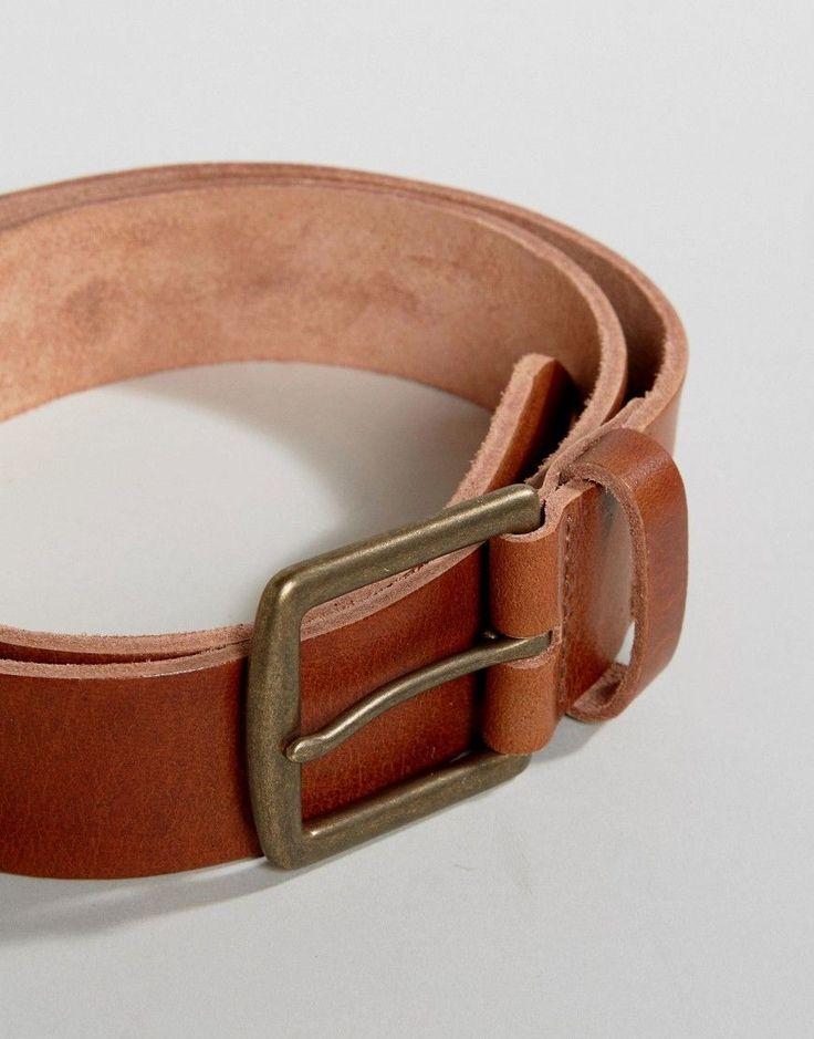 ASOS Leather Wide Belt In Tan - Tan