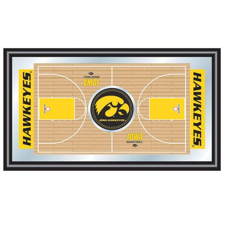University of Iowa Basketball 15 in. x 26 in. Black Wood Framed Mirror