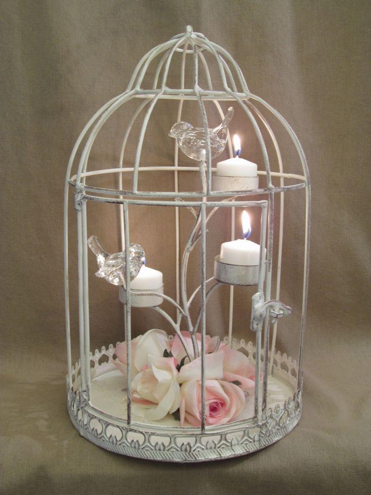 Bird Cage Wedding Centerpieces | Distressed Shabby Bird Cage Candle Holder / Wedding Table Centerpiece ...