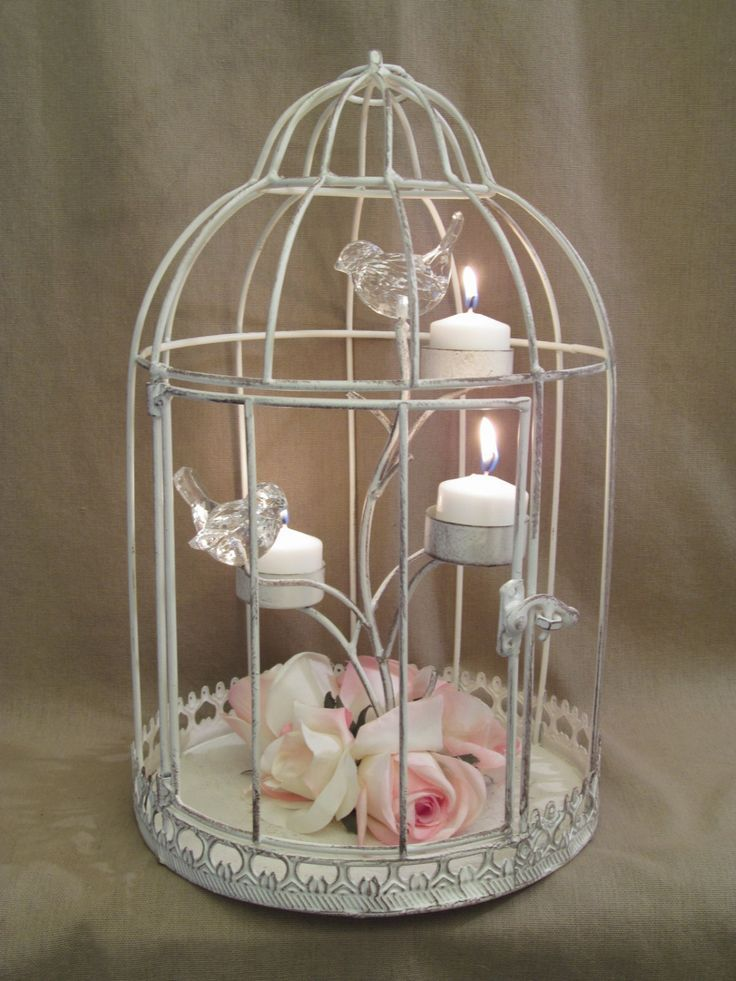 Bird cage wedding centerpieces distressed shabby bird cage candle holder - Decoration cage oiseau ...