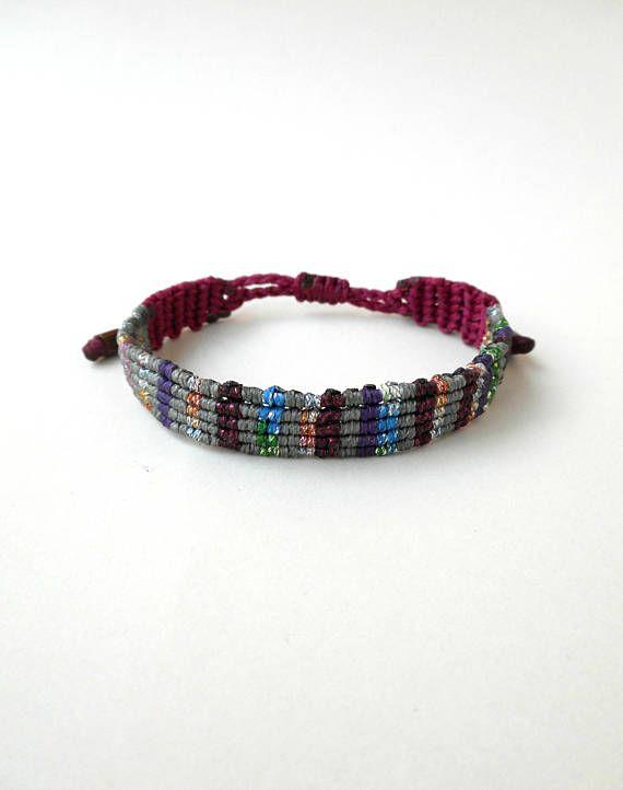 Metallic weave macrame cuff bracelet Patchwork style Rug