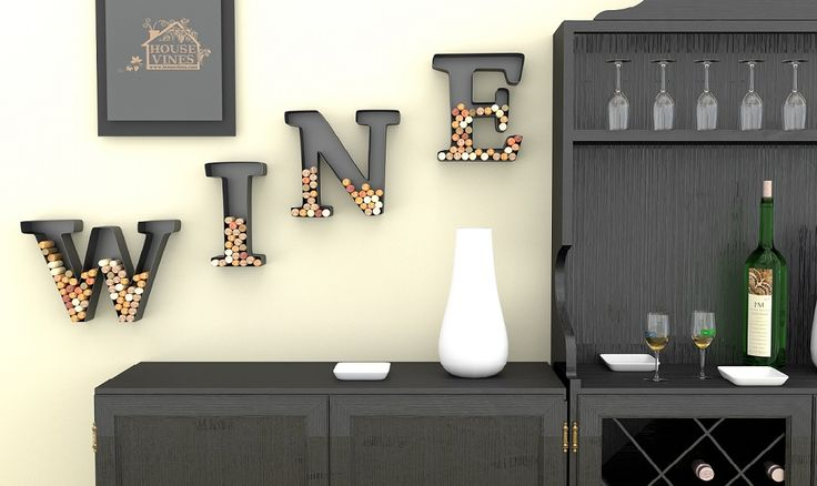 """Wine Letter Cork Holder Art Wall Décor - Metal - All 4 Letters W I N E - Includes Silicone Wine Glass Coaster and """"50 Shades"""" Wine Charm - by HouseVines #winegiftidea"""