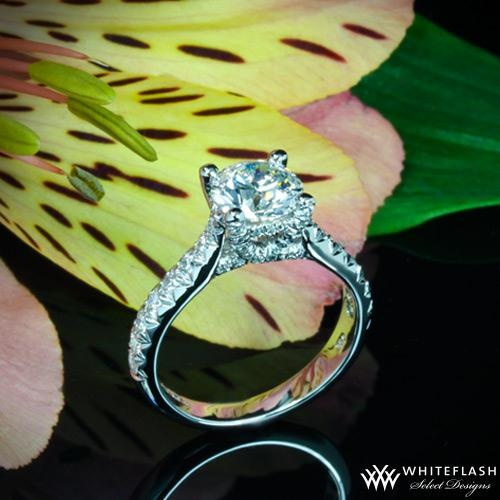 """Vatche designs, Elegance and beauty converge with The """"Jennifer"""" Diamond Engagement Ring by Vatche. Sparkling with 54 Round Brilliant Diamond Melee (0.38ctw; G/VS) along the shank and the X-Prong Gallery. This design is a 2010 Platinum Guild Winner."""
