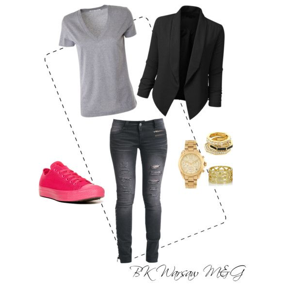 BK Warsaw M&G by kathrinstuff on Polyvore featuring Acne Studios, Rock Rebel, Converse, Michael Kors, Arme De L'Amour, casual, grey, tokiohotel and billkaulitz