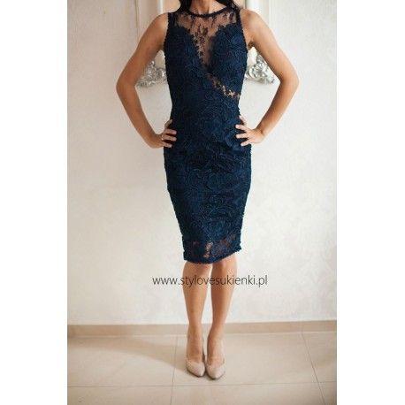 Ekskluzywna granatowa koronkowa sukienka midi z siateczką