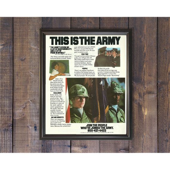 Join the Army Ad  This is the Army Military Prop  Army Recruitment Ad  Father's Day Gift  80s Magazine Advert  Camouflage Gear Uniform by RetroPapers