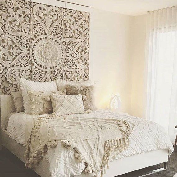 71″ Large Wall Art King Size Bed Sculpture Bohemian Headboard Decorative Flower Mandala Wooden Hand Craved Teak Wood Panel White