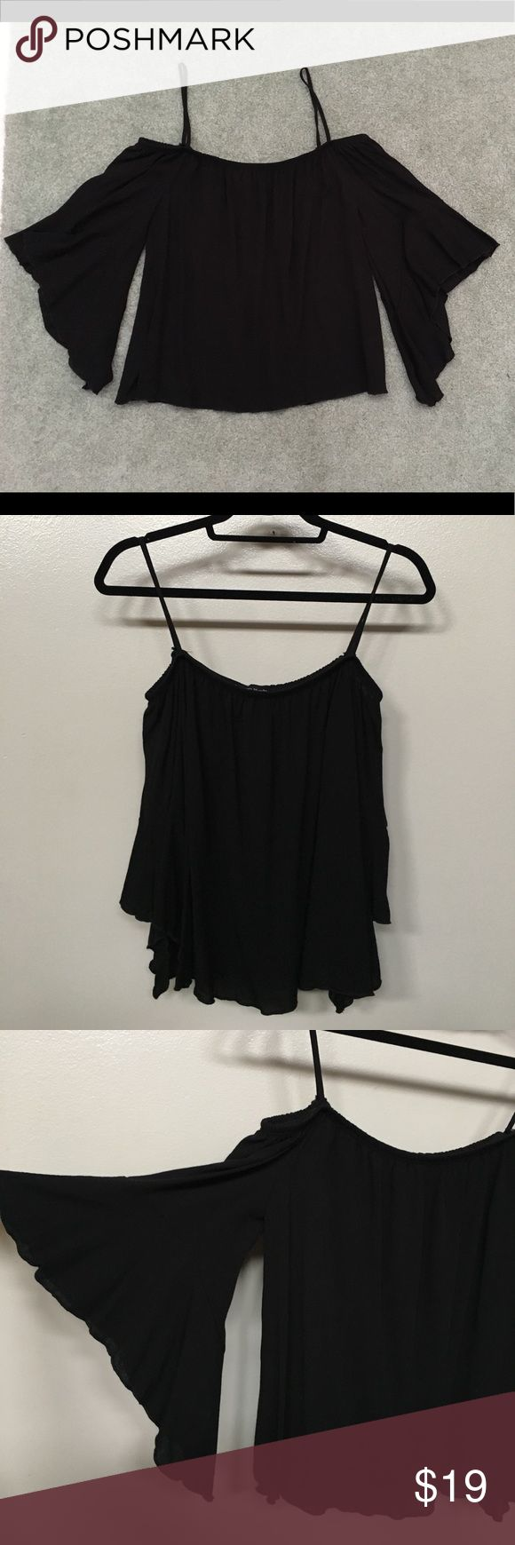 "NEW Black Batwing Top Brand new! Black off shoulder back wing sleeve shirt. So cute. Length strap to hem 23"" Tops"