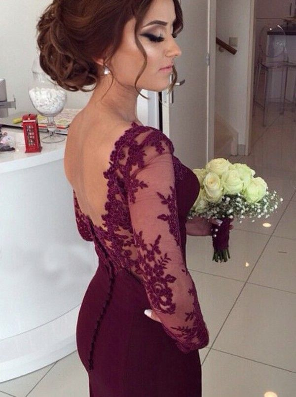 Buy Elegant Prom Dress/Evening Dress - Burgundy Mermaid with Lace Long Sleeves Evening Dresses under US$ 128.99 only in SimpleDress.