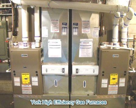 A pair of York high efficiency gas furnaces, with air conditioning and high efficiency air cleaners. www.hannabery.com