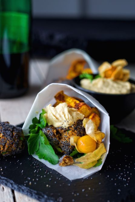 Macadamia Chestnut Falafel with Physalis Hummus