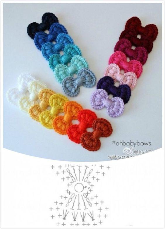 Achei no Pinterest esse lindo lacinho em crochê com gráfico....