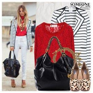 Леопардовые туфли на высоком каблуке, белые джинсы, красный свитер, полосатое пальто, черная сумка, украшения