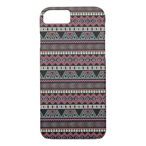 Teal Pink Turquoise Black Aztec Tribal Pattern iPhone 8/7 Case #chevron #iphone #cases #protectiion