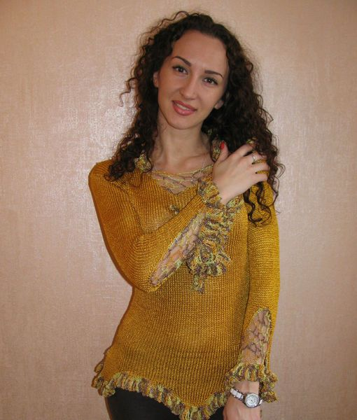 Hand knit sweater.Woman sweater. Gift for Her unde from Crocheted booties, blanket, exclusive garments are handmade   LyudmilaHandmade by DaWanda.com