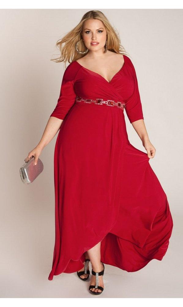 Igigi Nadine Jeweled Plus Size Gown In Red
