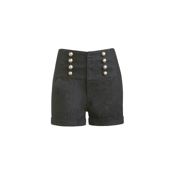 Hög midja Denim Sailor Short - Kvinnors kläder och kläder - Chic... ($10) ❤ liked on Polyvore featuring shorts, bottoms, pants, short, denim short shorts, sailor shorts, denim sailor shorts, denim shorts and short shorts