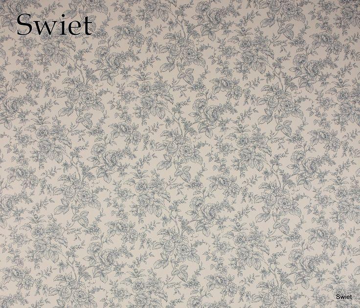 Blauw wit bloemenbehang