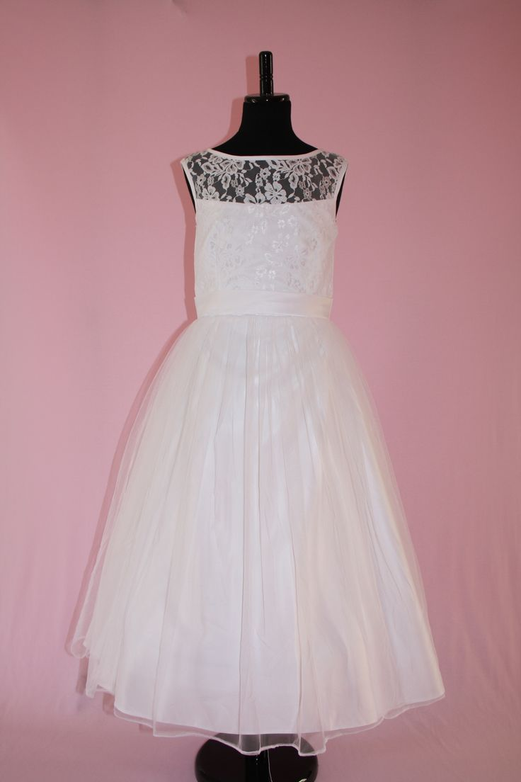 Beautiful Lace and Tulle Communion Flower Girl Dress by SILK N SATIN COMMUNION DRESSES.$75 https://silknsatincommuniondresses.com.au/product/kayla-2/