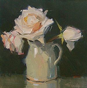 Last Night's Roses by Nancy Franke Oil ~ 8 x 8