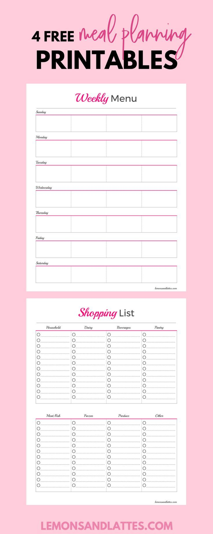 Feeling overwhelmed, trying to save money, or eat healthier? Meal planning printable templates that can help. Sign up for my newsletter and get a grocery list printable, weekly meal plan printable, monthly meal planning printable, and a favorite meals printable!