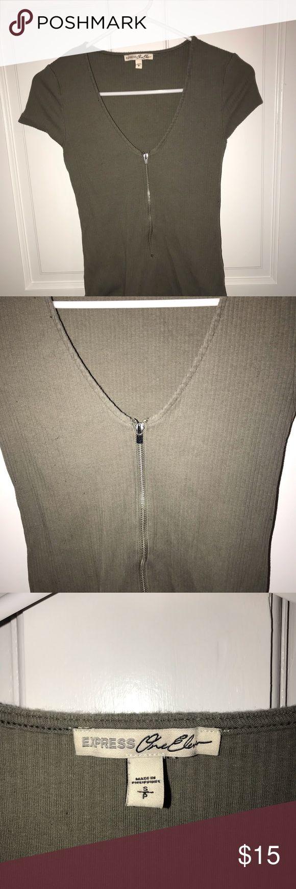 Express Green Zip Vneck Bodysuit Express Green Zipper bodysuit. Buttons at the b…
