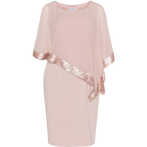 Gina Bacconi Pink Plus Size Cocktail dress with chiffon wrap ($400) ❤ liked on Polyvore featuring dresses, pink, plus size, women plus size dresses, sequin cocktail dresses, long sleeve cocktail dress, long dresses and cap sleeve dress